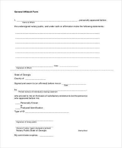 free general affidavit form2