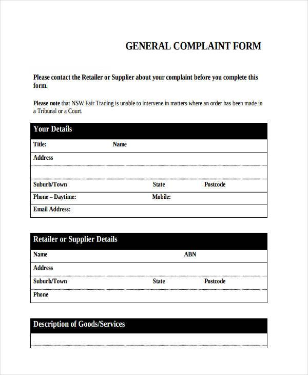 free general complaint form