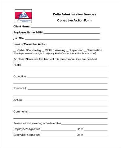 free generic corrective action form