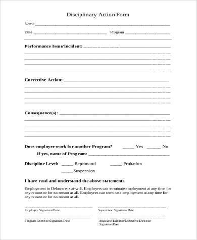 free generic disciplinary action form