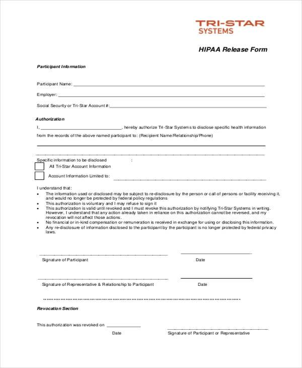 free generic hipaa release form