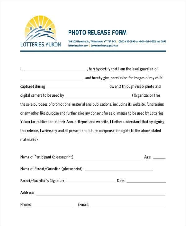 free generic photo release form