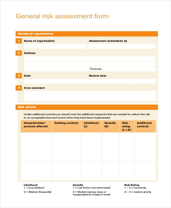 free generic risk assessment form