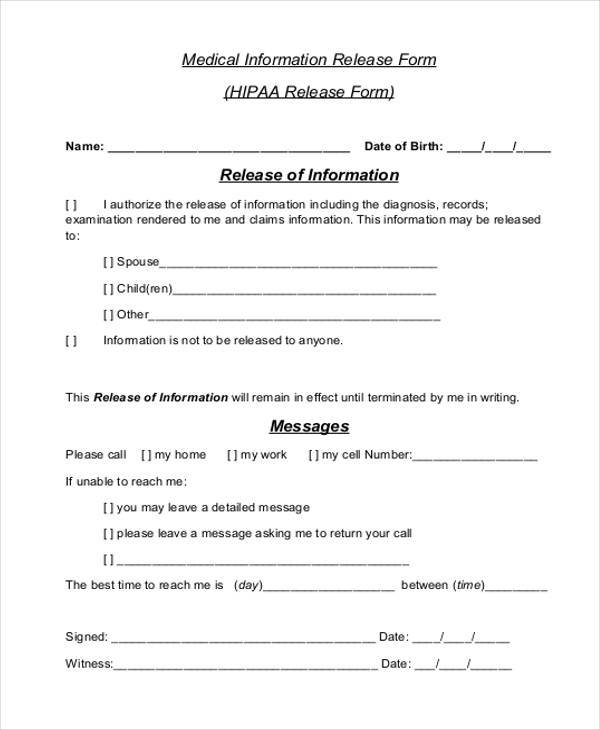 free hipaa medical release form