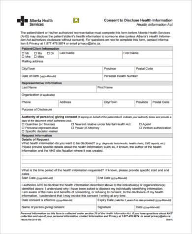 free health consent form