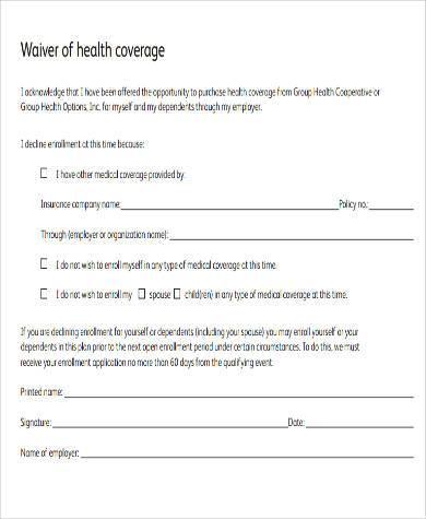 free health waiver form