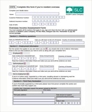 free income assessment form