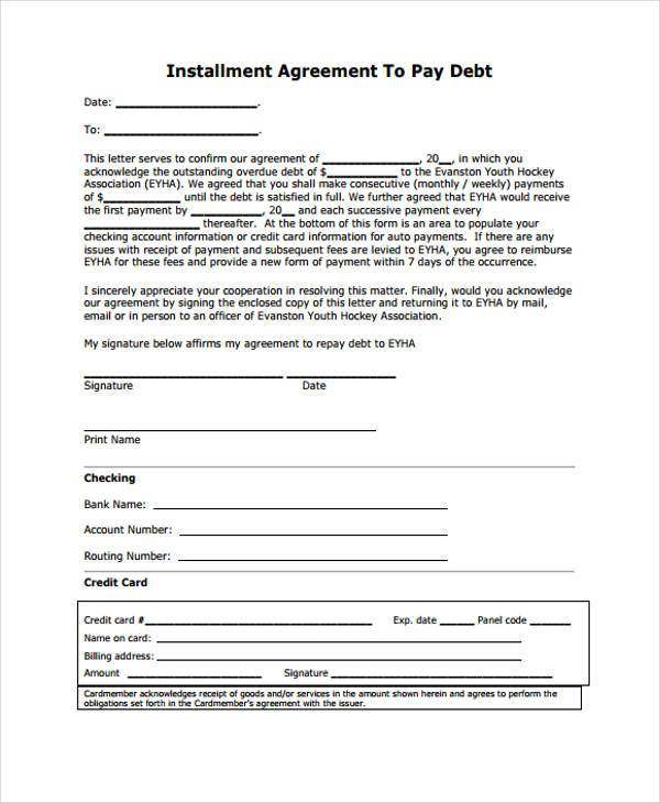 free installment agreement form