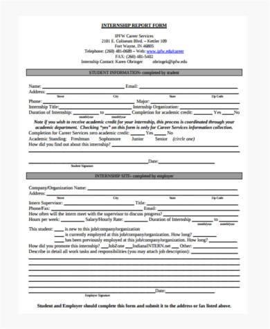 free internship report form