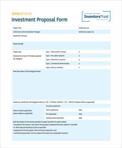 Sample Investment Proposal Forms   Free Documents In Word Pdf