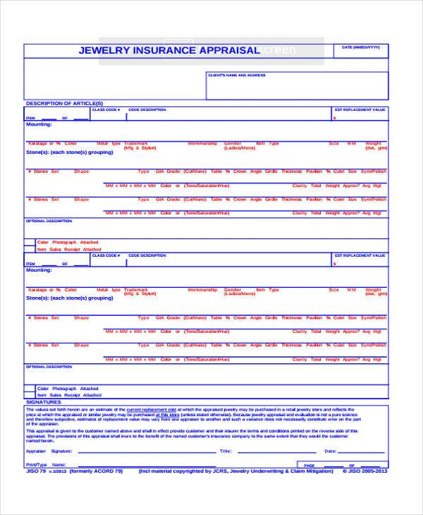Jewelry appraisal cost for insurance style guru fashion for Jewelry appraisal form template