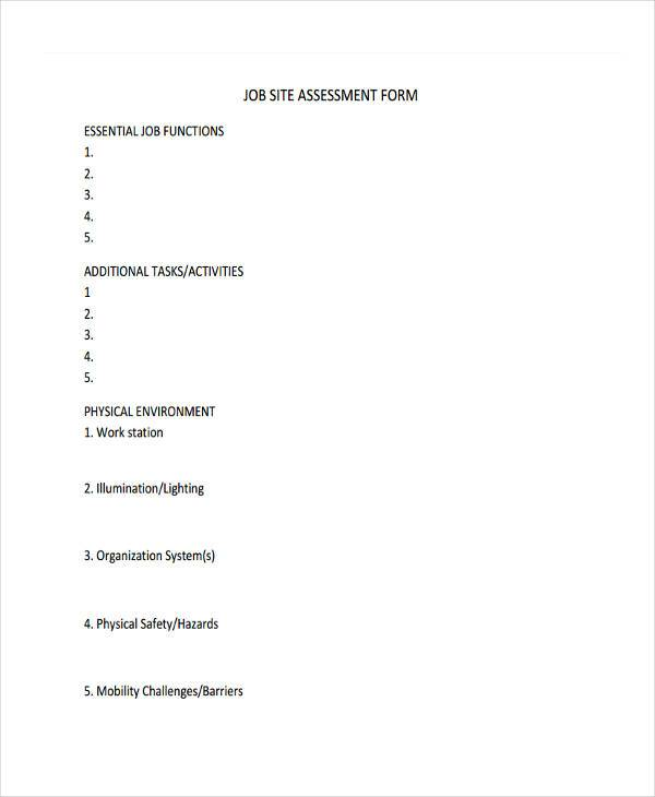 free job assessment form