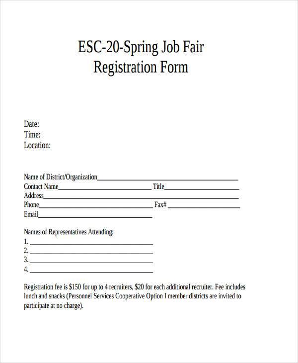 free job fair registration form