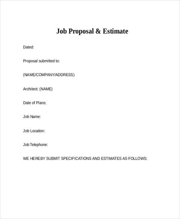 8 job proposal form samples free sample example format download