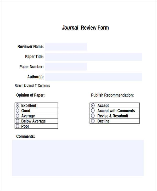 free journal review form1