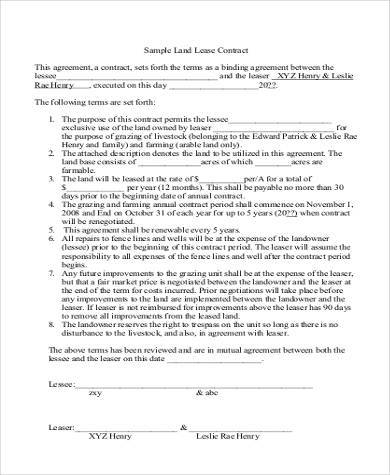 free land lease agreement form