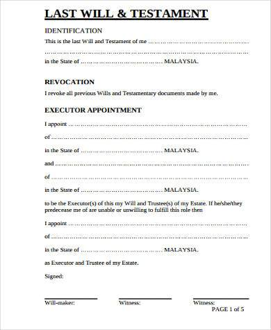 Sample last will and testament forms 6 free documents for Last will and testament free template maryland