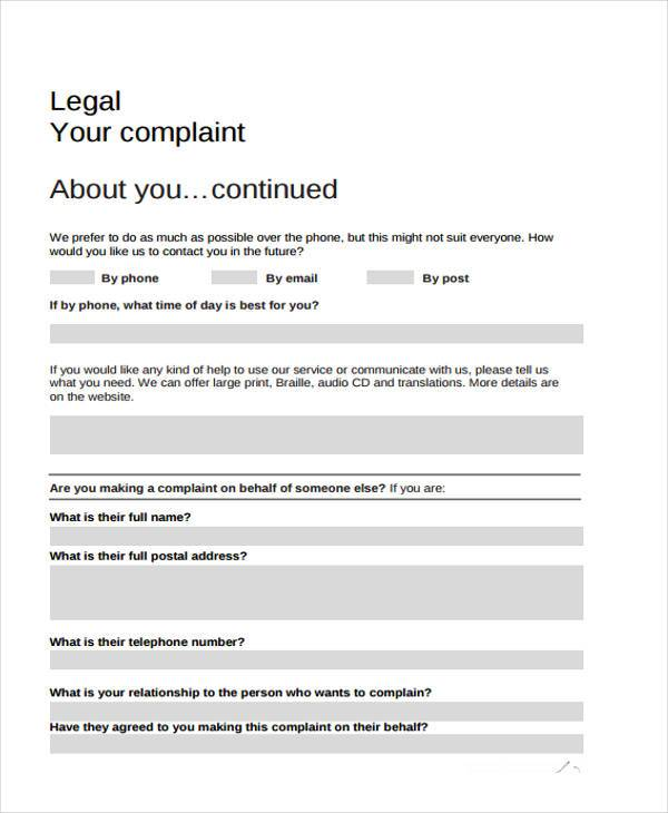 sample legal complaint forms 7 free documents in word pdf