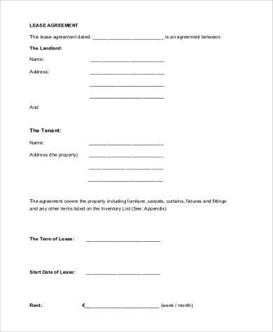 free legal lease agreement form