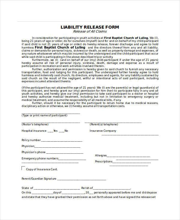 Sample Release Forms in Doc – Physician Release Form