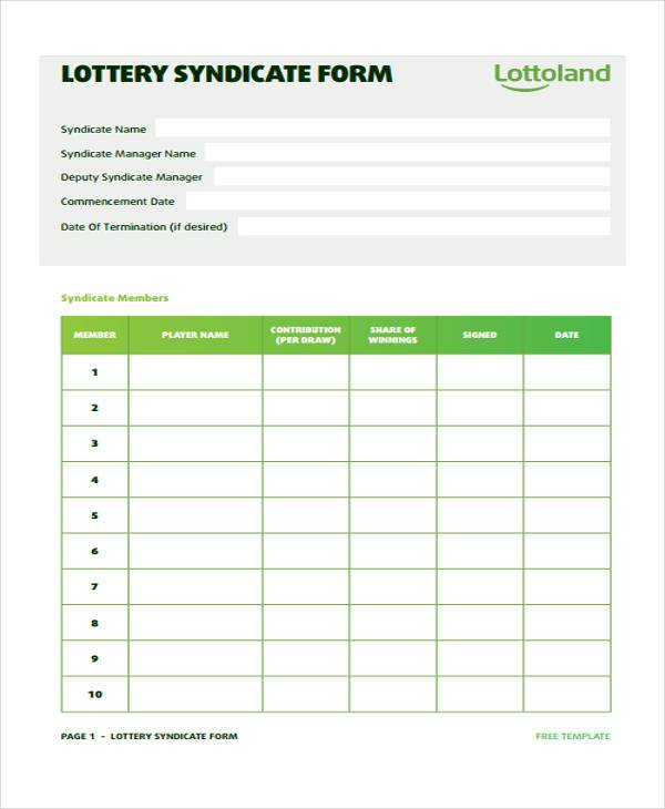 free lottery syndicate agreement form sample