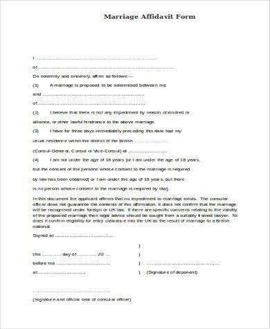 free marriage affidavit form1