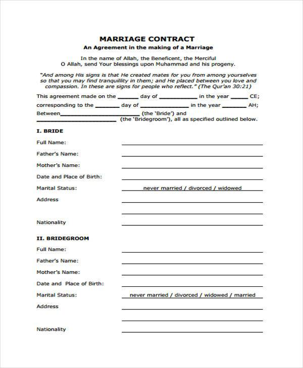 free marriage contract form
