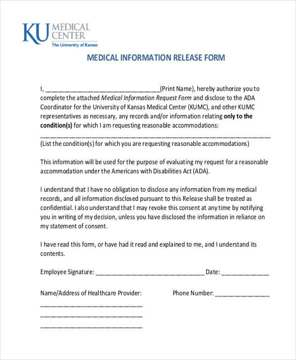 free medical information release form