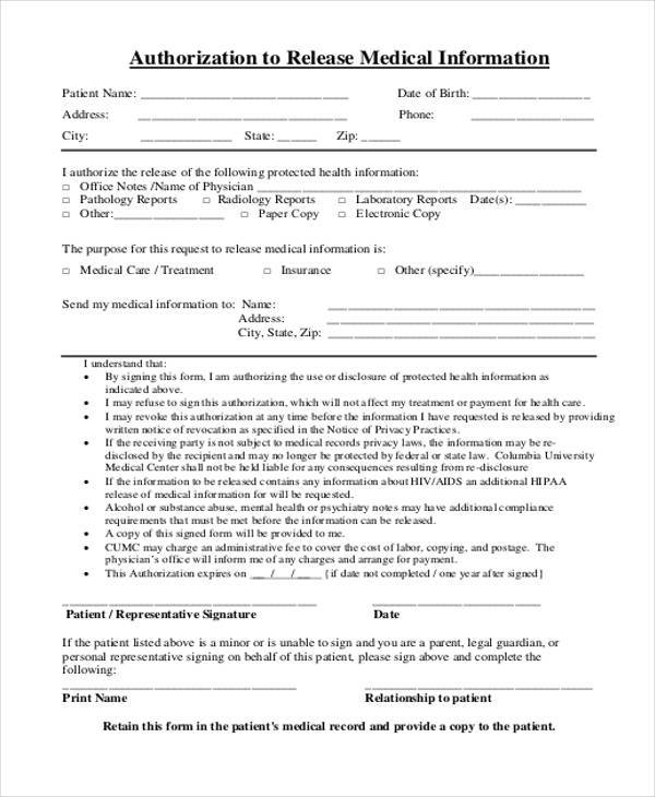 free medical release authorization form