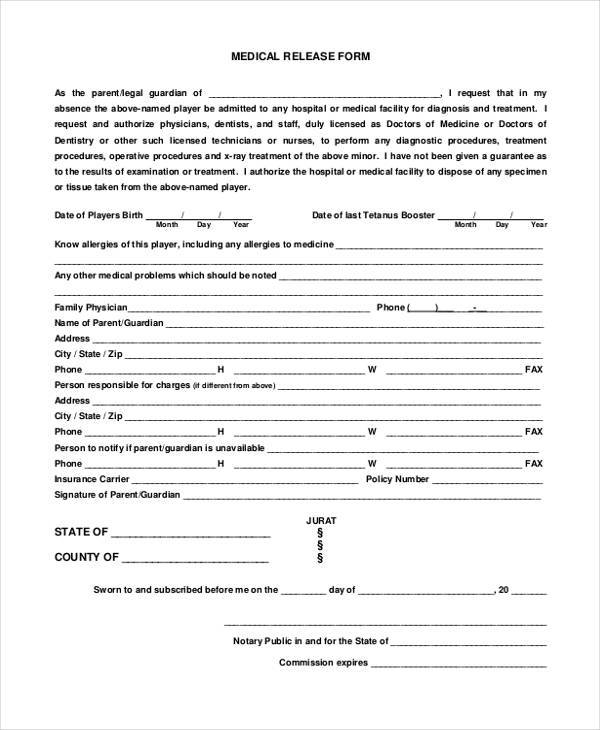 free medical release form in pdf