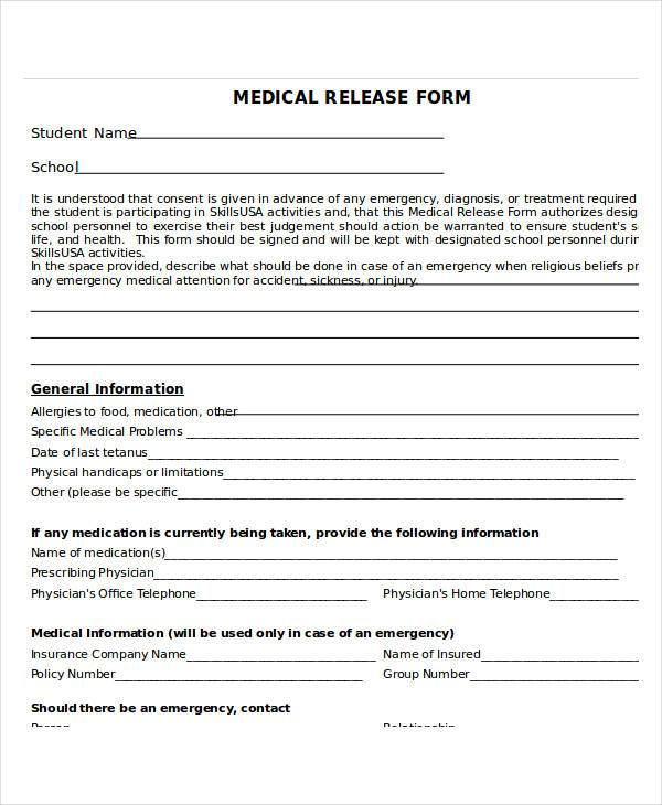 Emergency Release Form Adult Emergency Medical Release Form Medical