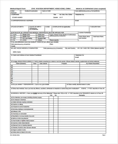 free medical report form