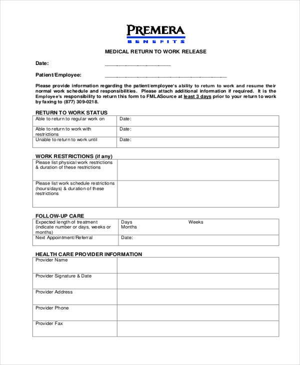 free medical work release form