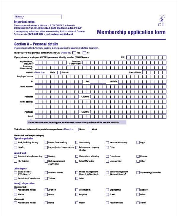 Membership Application Form Samples  Free Sample Example