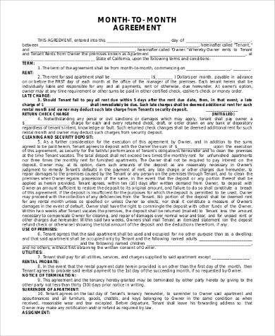 free month to month rental agreement form1