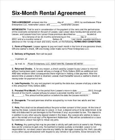 free monthly rental agreement form