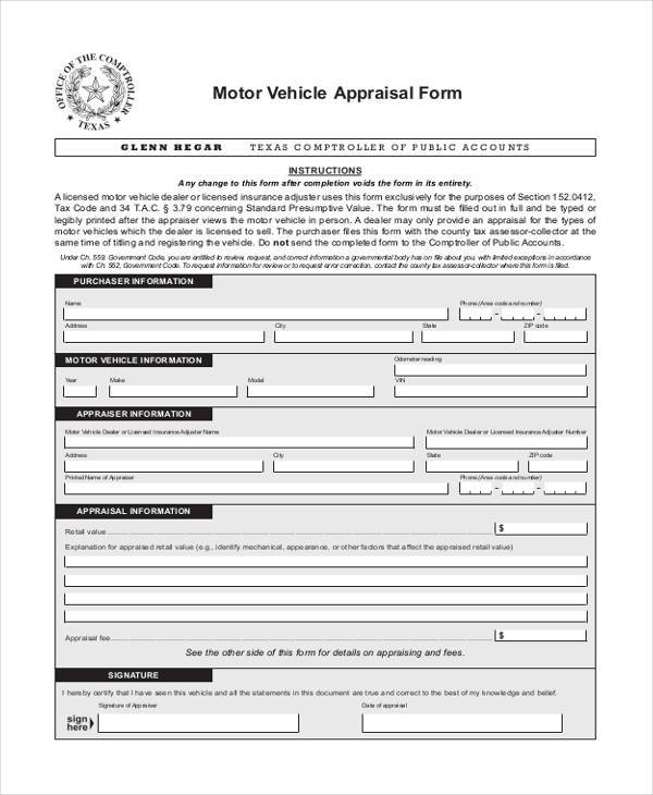 Wonderful Free Motorcycle Appraisal Form On Free Appraisal Forms