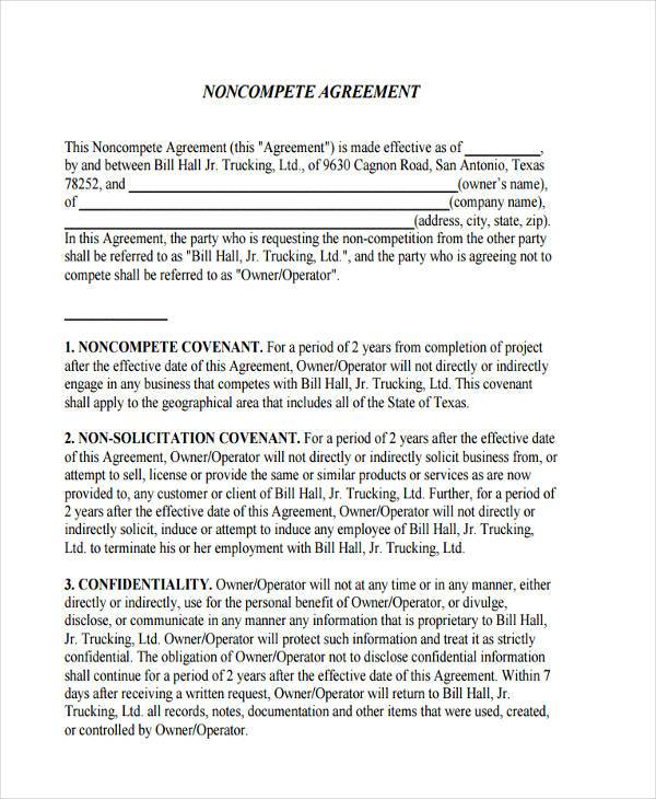 10 Non Pete Agreement Form Samples Free Sample