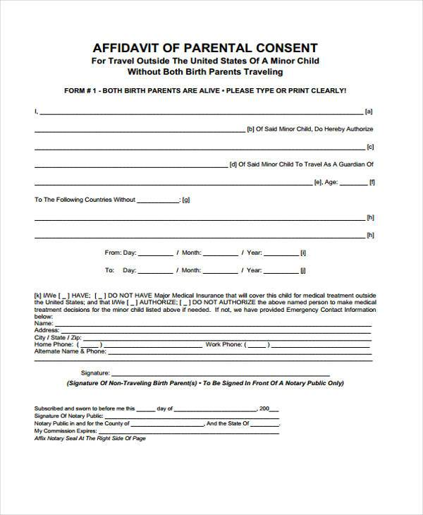 free travel consent form