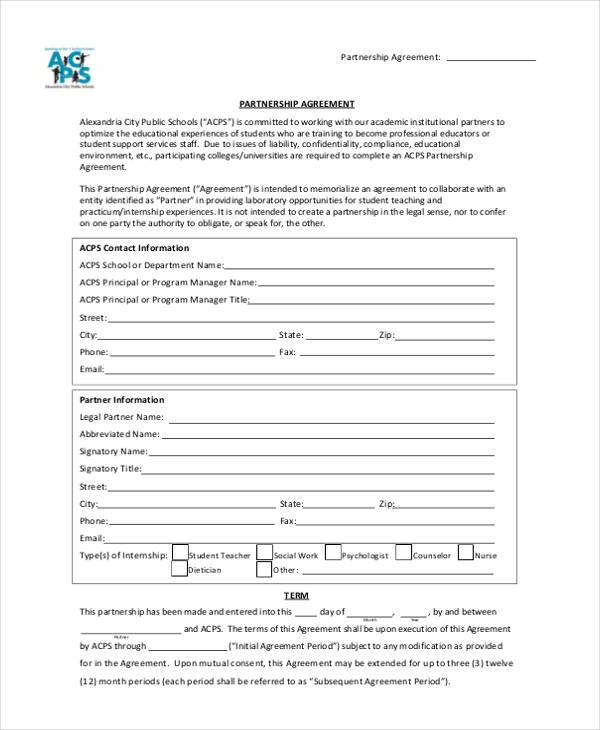Free Partnership Agreement Form  Free Partnership Agreement Form