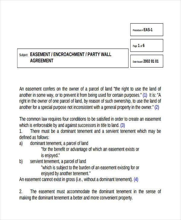 free party wall agreement form1