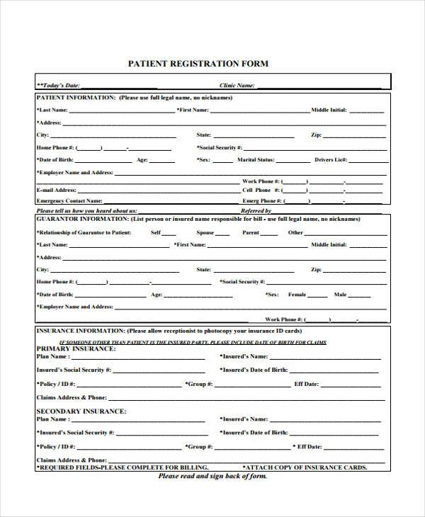 Patient Registration Form Samples  Free Sample Example