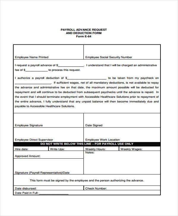 Sample Payroll Advance Forms   Free Sample Example Format Download