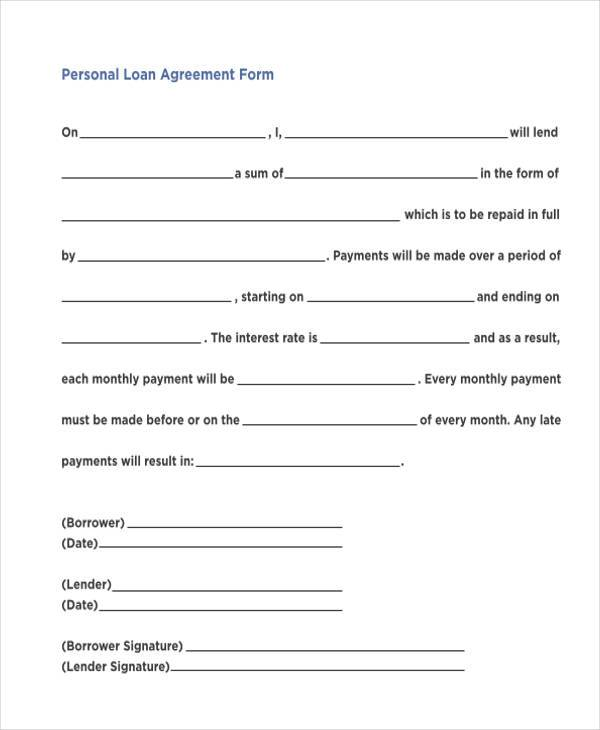 7 Personal Loan Agreement Form Samples Free Sample Example – Free Personal Loan Agreement Form
