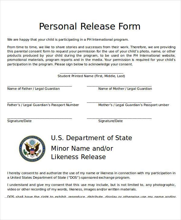 free personal release form