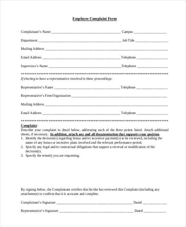 free personalized employee complaint form