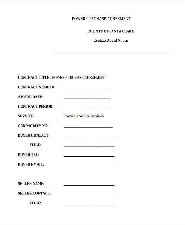 Power Purchase Agreement Form Samples  Free Sample Example