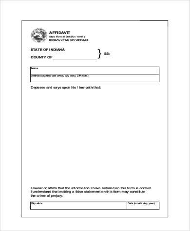 Great Free Printable Blank Affidavit Form Inside Free Printable Affidavit Form