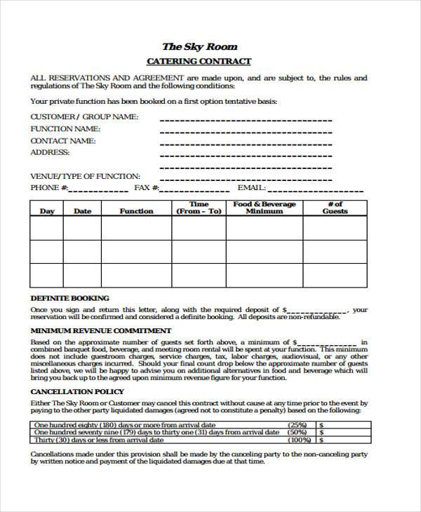 free printable catering contract form