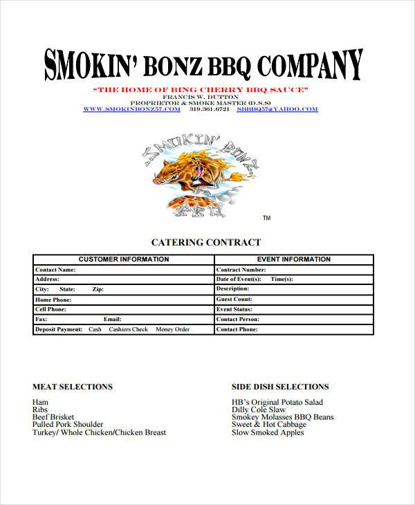 free printable catering contract forms
